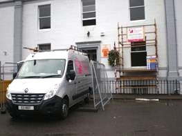 Morris and Young Perth scaffolding going up to deal with rot attack